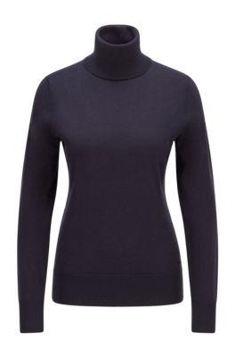 Slim-fit trui van katoen met zijde en kasjmier, Lichtblauw