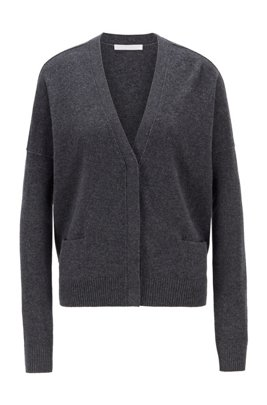 Relaxed-fit cardigan in virgin wool and cashmere, Grey