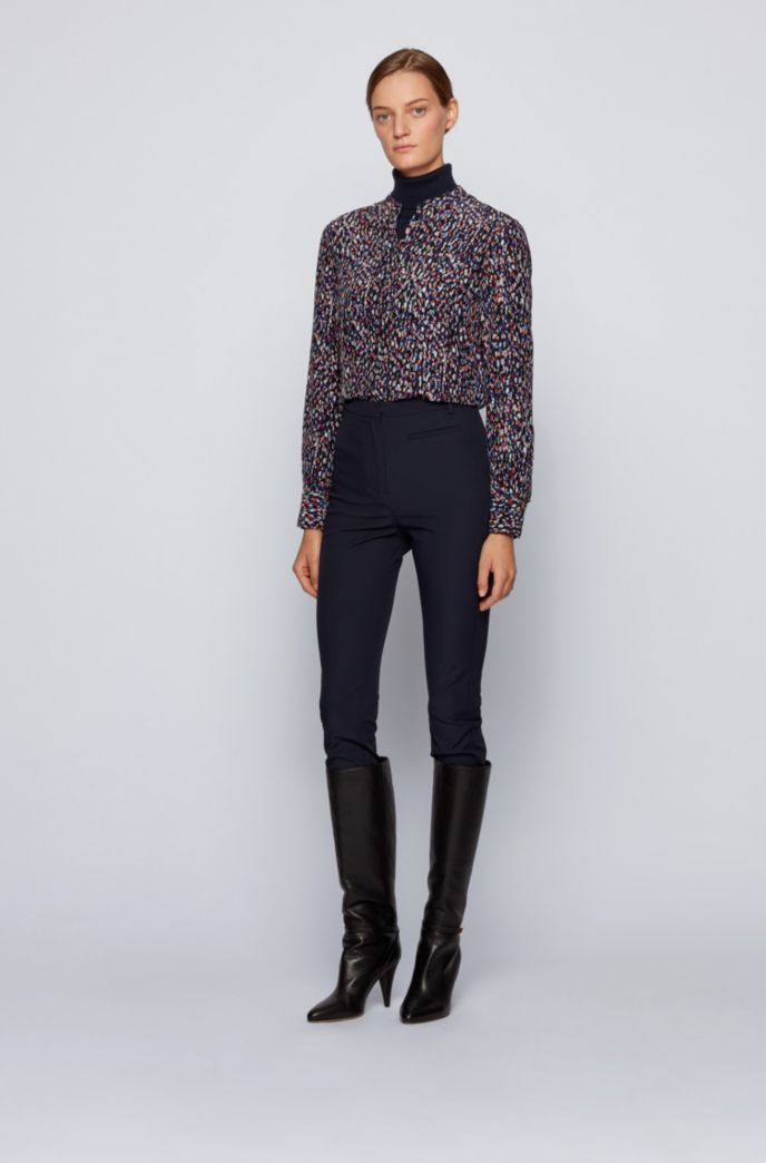 Slim-fit legging-style trousers with side-seam inserts