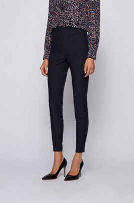 Slim-fit legging-style trousers with side-seam inserts, Light Blue
