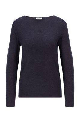 Slim-fit sweater in pure cashmere, Dark Blue