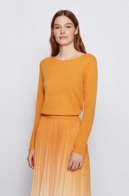Slim-fit sweater in pure cashmere, Light Yellow