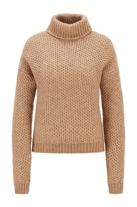 Alpaca-blend turtleneck sweater with honeycomb structure, Light Brown