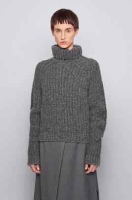 Regular-fit rollneck sweater in an alpaca blend, Grey