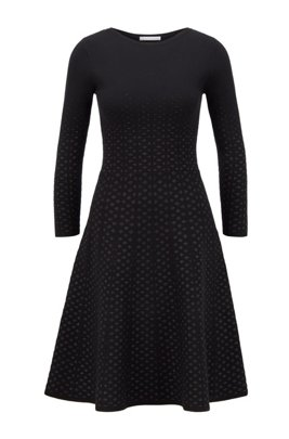 Jacquard-knit long-sleeved dress with degradé effect, Black