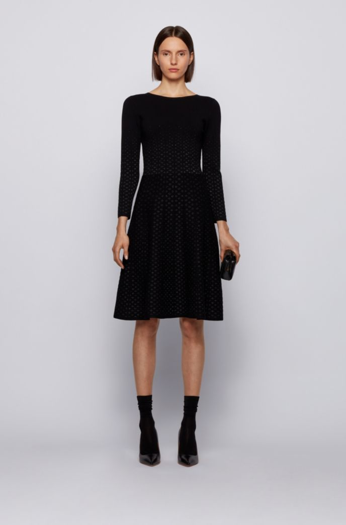 Jacquard-knit long-sleeved dress with degradé effect