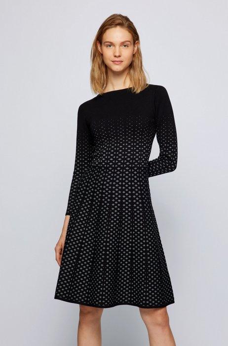 Long-sleeved dress in degradé knitted jacquard, Patterned