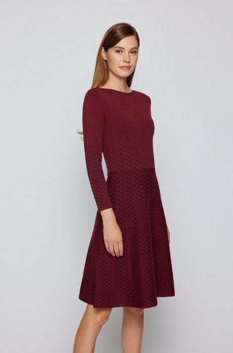 Long-sleeved dress in degradé knitted jacquard, Dark Red