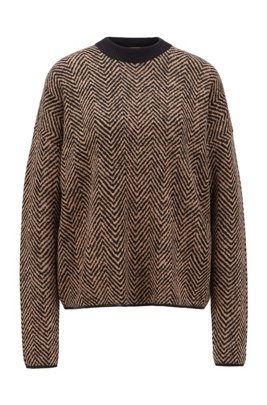 Jacquard-knit sweater with collection-themed chevron pattern, Patterned
