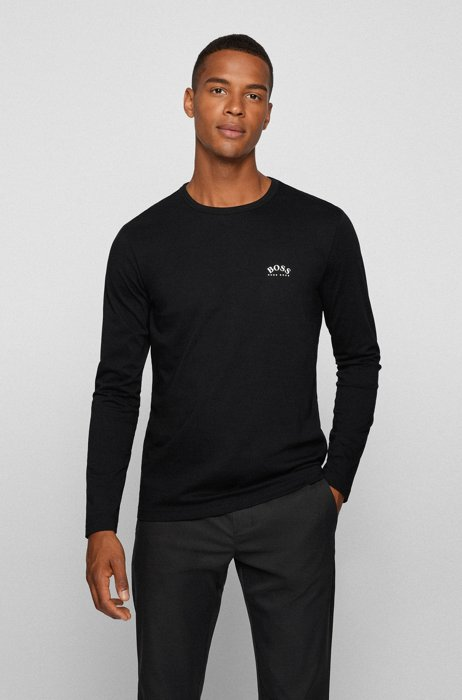 Long-sleeved T-shirt in pure cotton with curved logo, Black