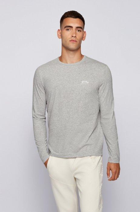 T-shirt van zuivere katoen met lange mouwen en gebogen logoprint, Lichtgrijs