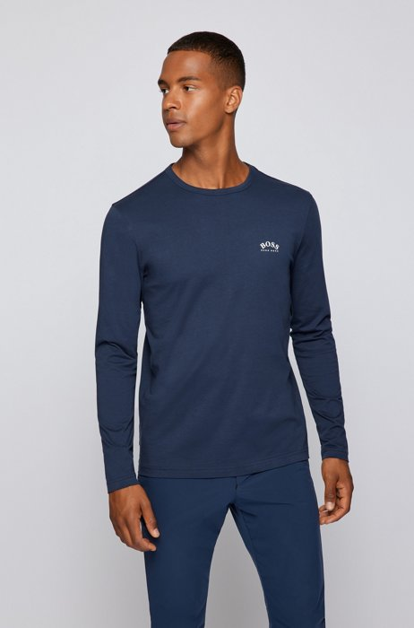 Long-sleeved T-shirt in pure cotton with curved logo, Dark Blue