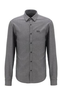 Mehrfarbiges Slim-Fit Hemd aus strukturierter Baumwolle, Schwarz