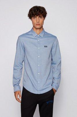 Mehrfarbiges Slim-Fit Hemd aus strukturierter Baumwolle, Blau