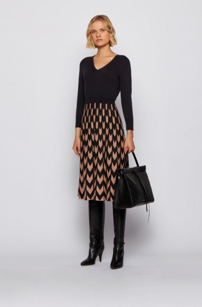 V-neck knitted dress with chevron-jacquard skirt
