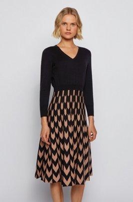 V-neck knitted dress with chevron-jacquard skirt, Patterned