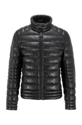 Slim-fit quilted jacket in lightly waxed nappa leather, Black