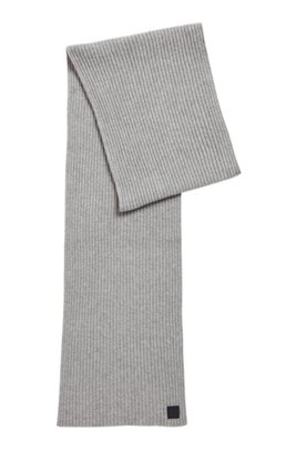 Wool-blend ribbed scarf with logo badge, Grey