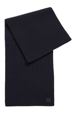 Wool-blend ribbed scarf with logo badge, Dark Blue