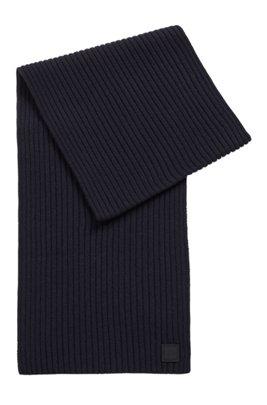 Bufanda de canalé en mezcla de lana con logo, Azul oscuro