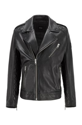 Slim-fit biker jacket in leather with asymmetric closure, Black