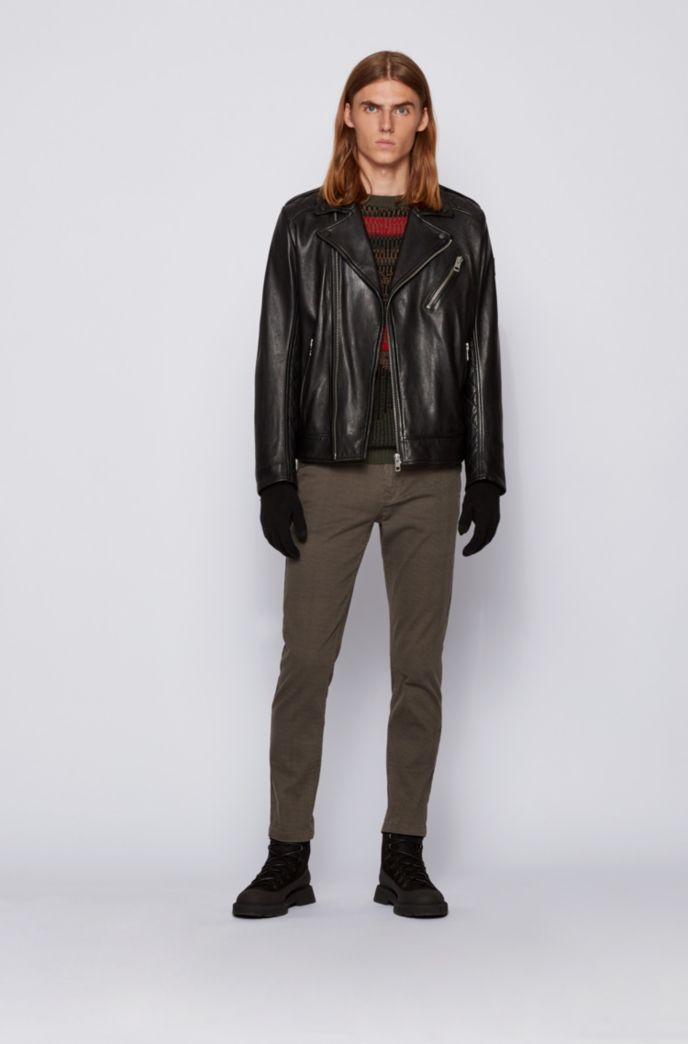 Slim-fit biker jacket in leather with asymmetric closure