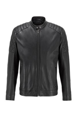 Slim-fit biker jacket in waxed leather, Black