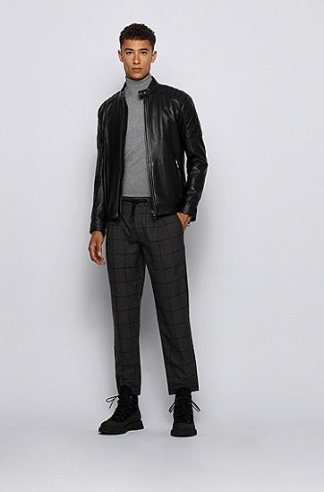 修身款拉链袖标准长度外套,  001_黑色