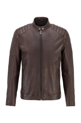 Slim-fit biker jacket in waxed leather, Dark Brown