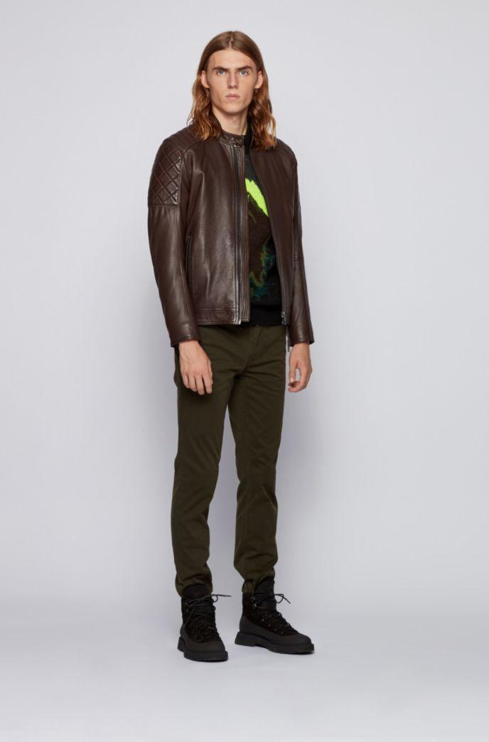 Slim-fit biker jacket in waxed leather