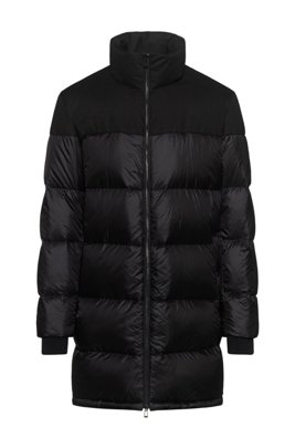 Baffle-quilted down coat with water-repellent outer, Black