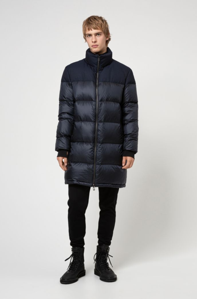 Baffle-quilted down coat with water-repellent outer