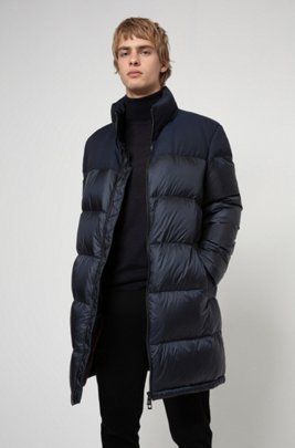 Baffle-quilted down coat with water-repellent outer, Dark Blue