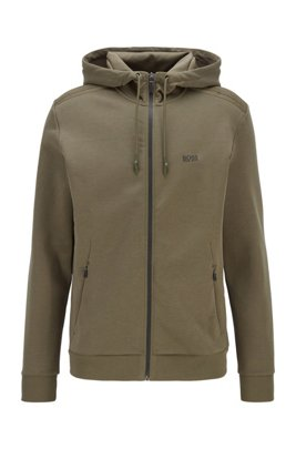 Zip-through hooded sweatshirt with reflective logo, Dark Green