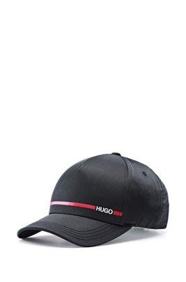 Nylon-twill cap with logo stripe print, Black