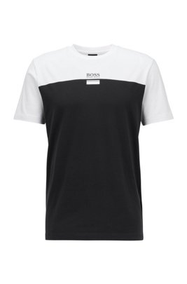 Crew-neck T-shirt in stretch cotton with logo print, Black