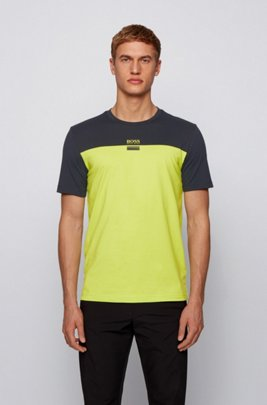Crew-neck T-shirt in stretch cotton with logo print, Yellow