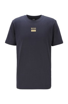 T-Shirt aus Stretch-Baumwolle mit Rundhalsausschnitt und Logo-Print, Dunkelblau