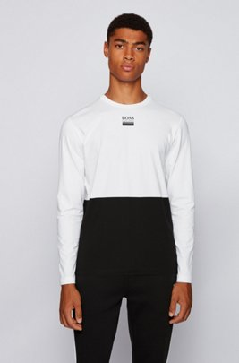 Long-sleeved T-shirt in stretch cotton with logo detailing, Black