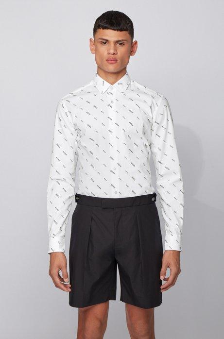 Slim-Fit Hemd aus Stretch-Baumwolle mit Monogramm-Print, Weiß
