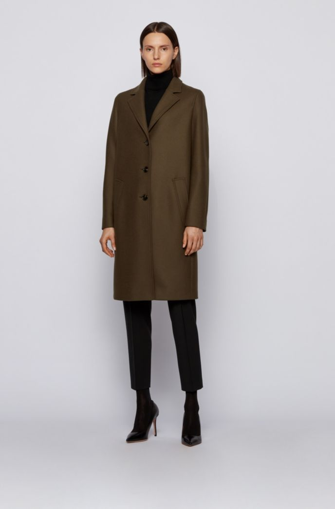 Relaxed-fit coat in wool-blend twill with cashmere