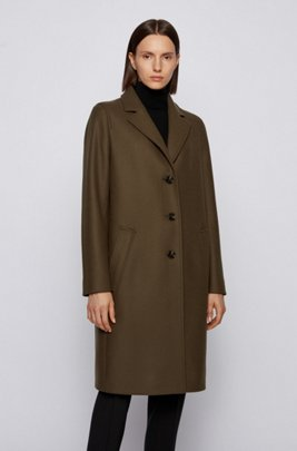 Relaxed-fit coat in wool-blend twill with cashmere, Light Green