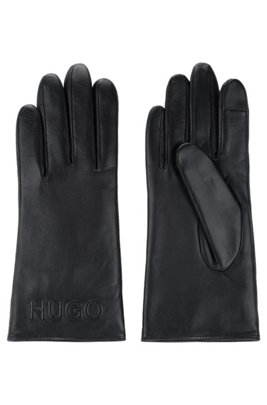 Nappa-leather gloves with reverse logo, Black