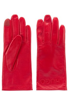 Nappa-leather gloves with reverse logo, light pink