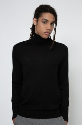 Slim-fit sweater in a virgin-wool blend, Black