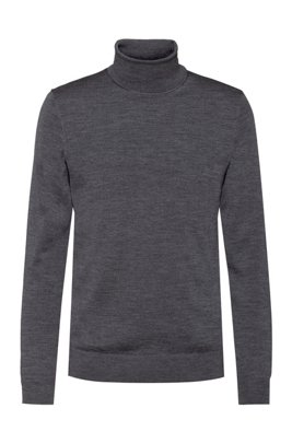 Slim-fit sweater in a virgin-wool blend, Dark Grey