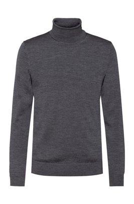 Slim-fit trui van een scheerwolmix, Donkergrijs