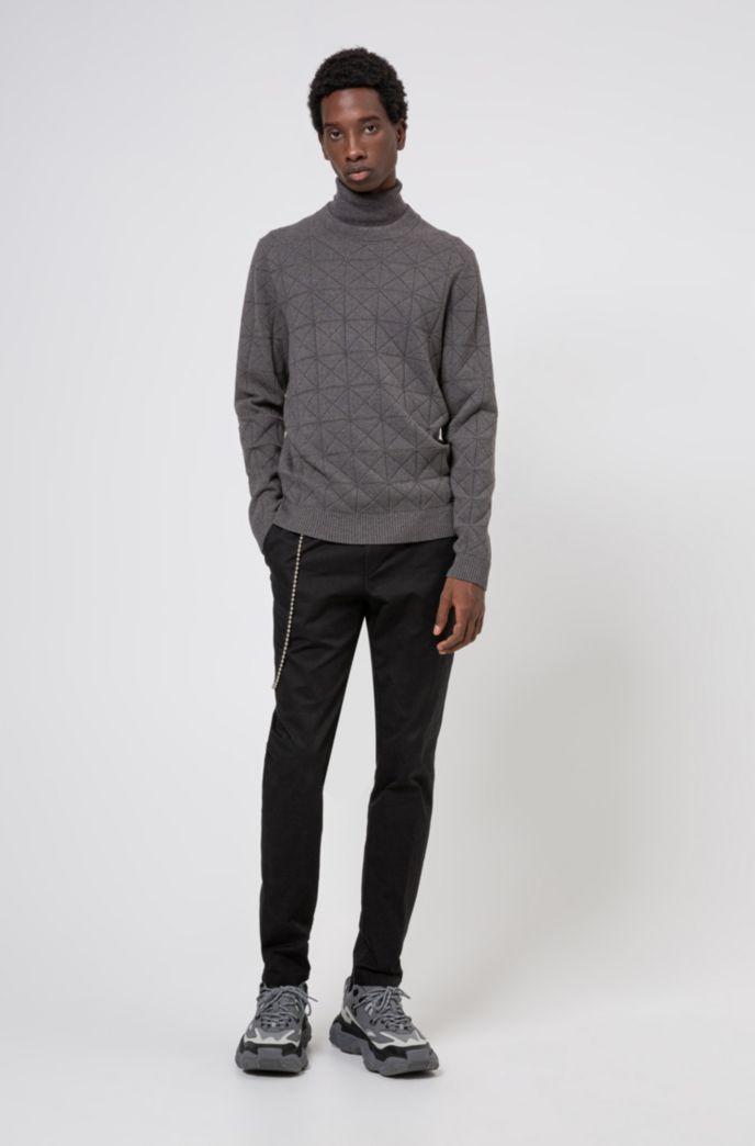 Slim-fit trui van een scheerwolmix