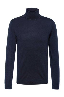 Slim-fit sweater in a virgin-wool blend, Dark Blue