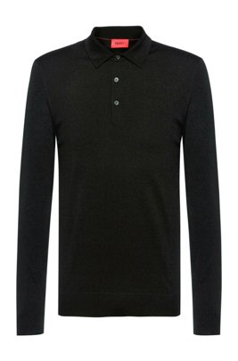 Merino-wool-blend sweater with polo collar, Black